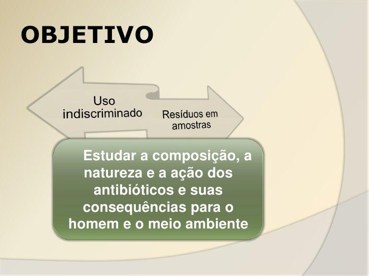 OBJETIVO    Estudar a composição, a    natureza e a ação dos     antibióticos e suas    consequências para o  homem e o me...