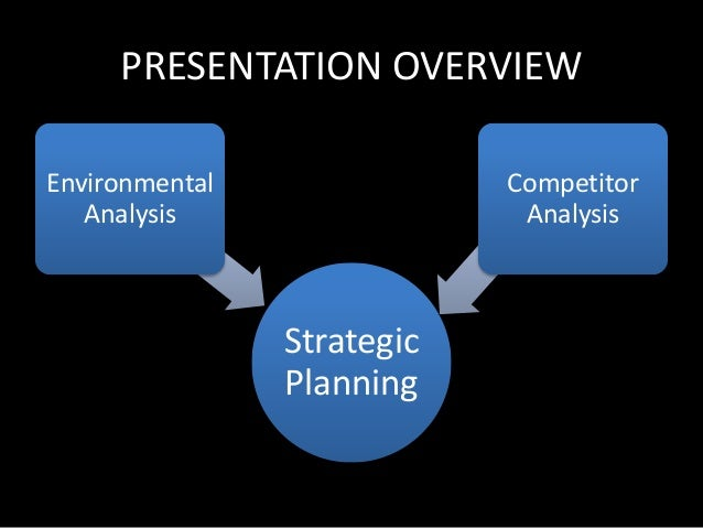 PRESENTATION OVERVIEW  Strategic  Planning  Environmental  Analysis  Competitor  Analysis