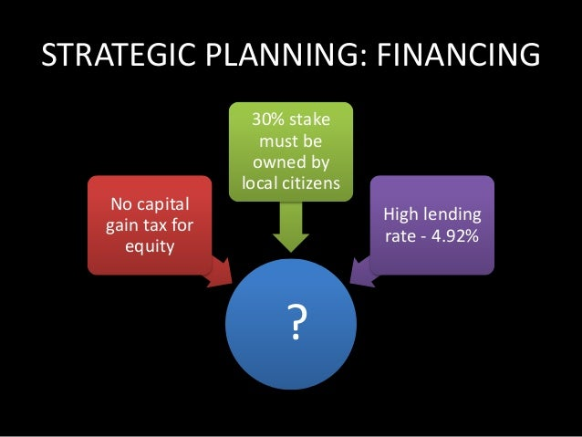STRATEGIC PLANNING: FINANCING  Equity  Financing  No capital  gain tax for  equity  30% stake  must be  owned by  local ci...
