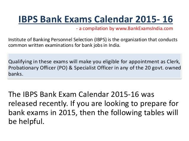 upcoming ibps bank exam 2015-16