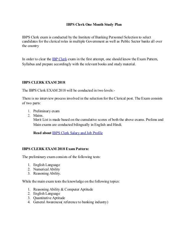 IBPS Clerk one month study plan