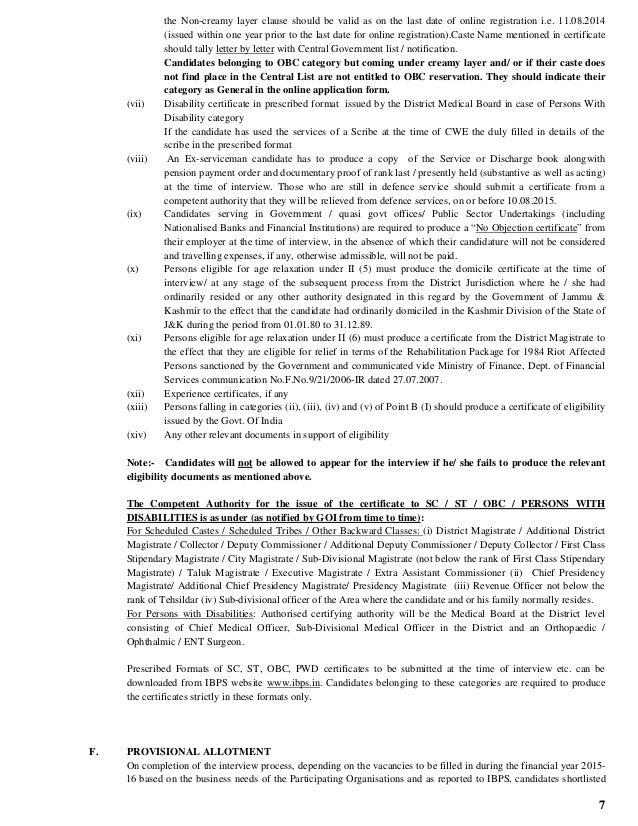 Ibps notification 2014 by smartprep obc caste certificate containing 7 7 the non creamy layer altavistaventures Choice Image