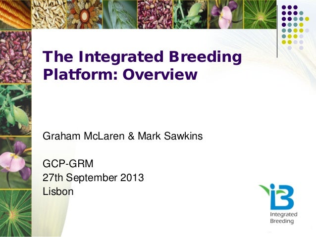 The Integrated Breeding Platform: Overview Graham McLaren & Mark Sawkins GCP-GRM 27th September 2013 Lisbon