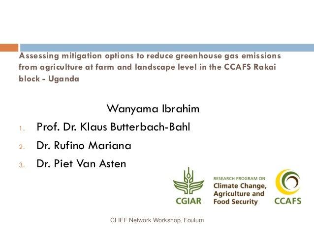 Assessing mitigation options to reduce greenhouse gas emissions from agriculture at farm and landscape level in the CCAFS ...