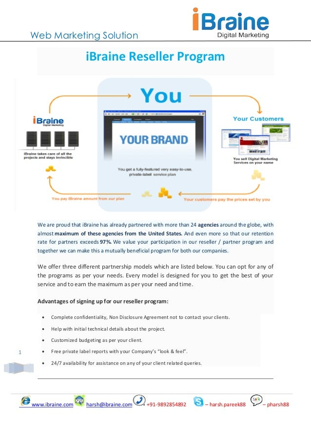 Web Marketing Solution                           iBraine Reseller Program      We are proud that iBraine has already partn...