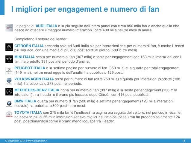 © Blogmeter 2014 | www.blogmeter.it 18 I migliori per engagement e numero di fan La pagina di AUDI ITALIA è la più seguita...