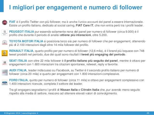 © Blogmeter 2014 | www.blogmeter.it 25 I migliori per engagement e numero di follower FIAT è il profilo Twitter con più fo...