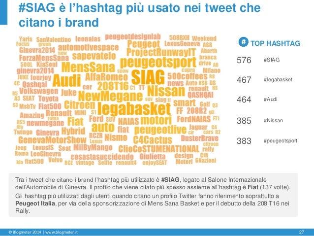 © Blogmeter 2014 | www.blogmeter.it 27 #SIAG è l'hashtag più usato nei tweet che citano i brand TOP HASHTAG 576 #SIAG 467 ...