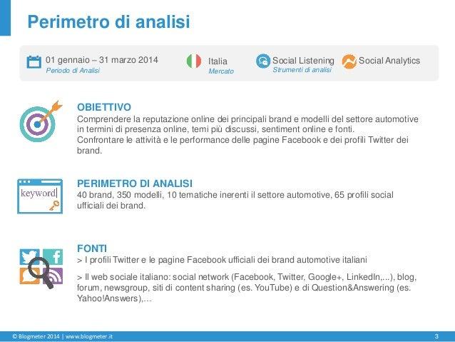 © Blogmeter 2014 | www.blogmeter.it 3 OBIETTIVO Comprendere la reputazione online dei principali brand e modelli del setto...
