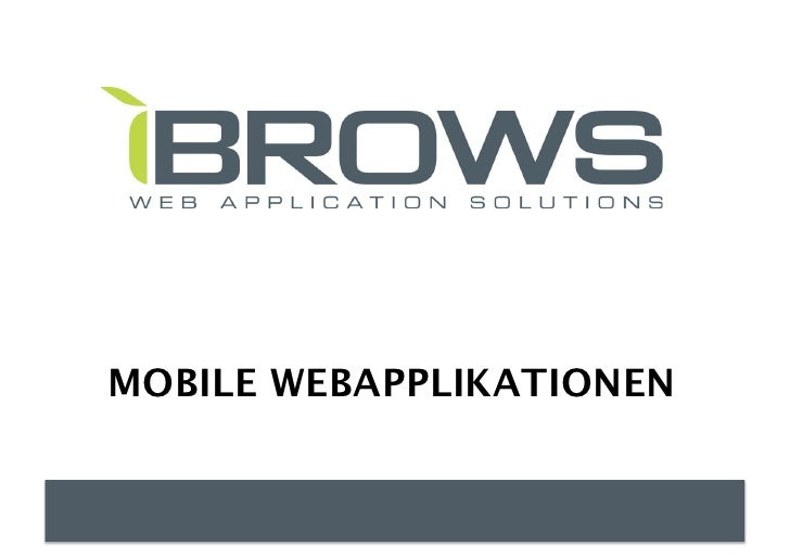 MOBILE WEBAPPLIKATIONEN