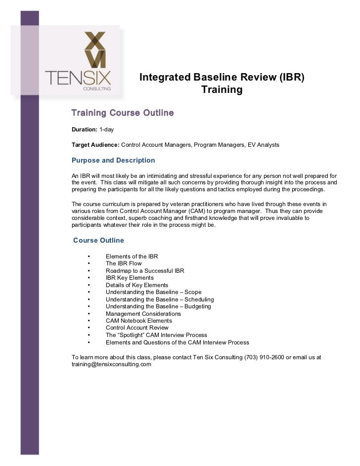 Integrated Baseline Review (IBR)                                             Training   ...