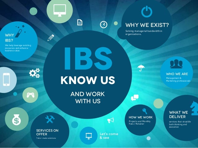 8 WHY IBS?  b  a  We help leverage existing resources and enhance business value.  5  !  K  [  Why we exist? Solving manag...