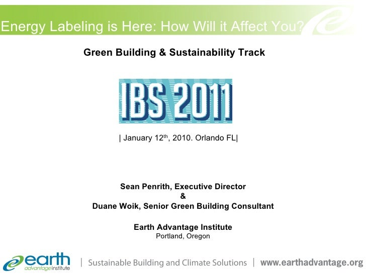 Energy Labeling is Here: How Will it Affect You?             Green Building & Sustainability Track                    | Ja...
