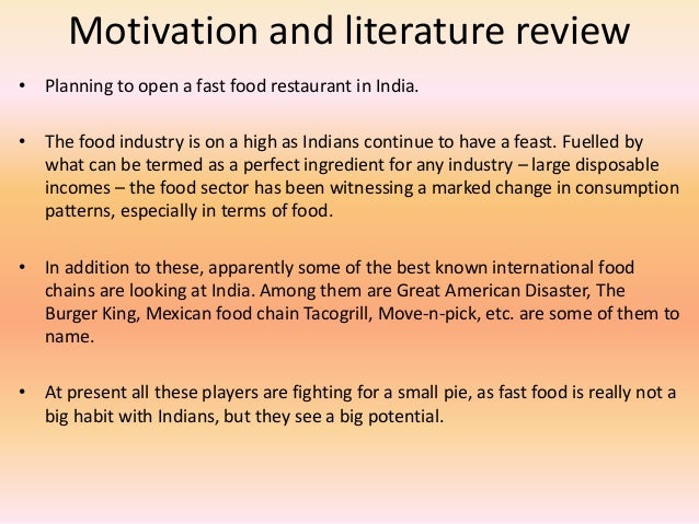 introduction and literature review mcdonalds fast food Keywords: franchising fast food free riding vertical restraints  dollar menu  introduction curtailed the profitability of high prices and resulted in a smaller   6for an excellent review of the empirical literature on vertical restraints, see.