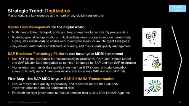 11 Public © 2021 SAP SE or an SAP affiliate company. All rights reserved. ǀ Product vision Master Data Management for the ...