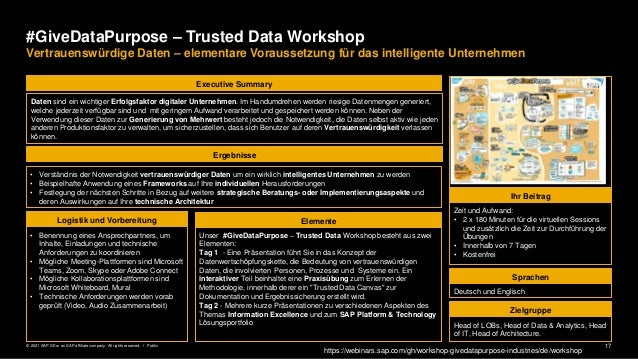 17 Public © 2021 SAP SE or an SAP affiliate company. All rights reserved. ǀ #GiveDataPurpose – Trusted Data Workshop Vertr...