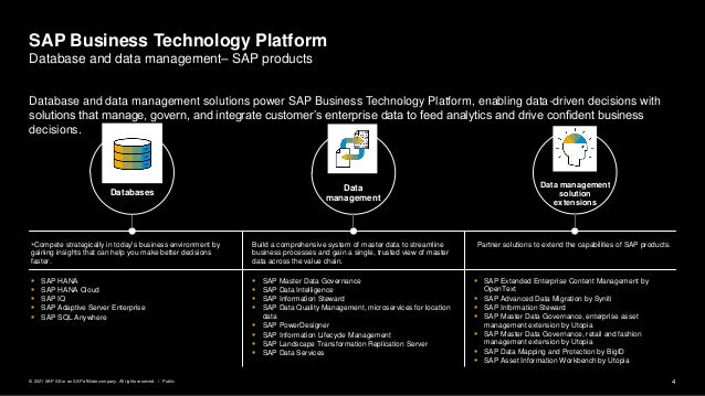 4 Public © 2021 SAP SE or an SAP affiliate company. All rights reserved. ǀ Database and data management solutions power SA...