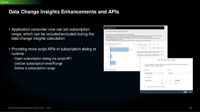 15 PUBLIC © 2021 SAP SE or an SAP affiliate company. All rights reserved. ǀ Q2/2021 Data Change Insights Enhancements and ...