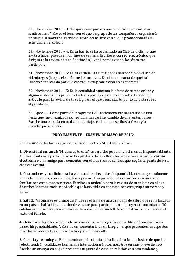 IB Spanish B SL - Ejemplos Prueba 2