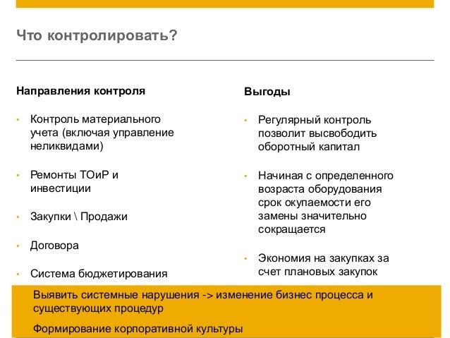 © 2014 SAP AG. All rights reserved. 19 Что контролировать? Направления контроля • Контроль материального учета (включая уп...