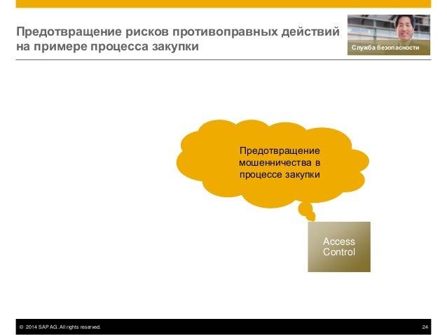 © 2014 SAP AG. All rights reserved. 24 Access Control Предотвращение мошенничества в процессе закупки Предотвращение риско...
