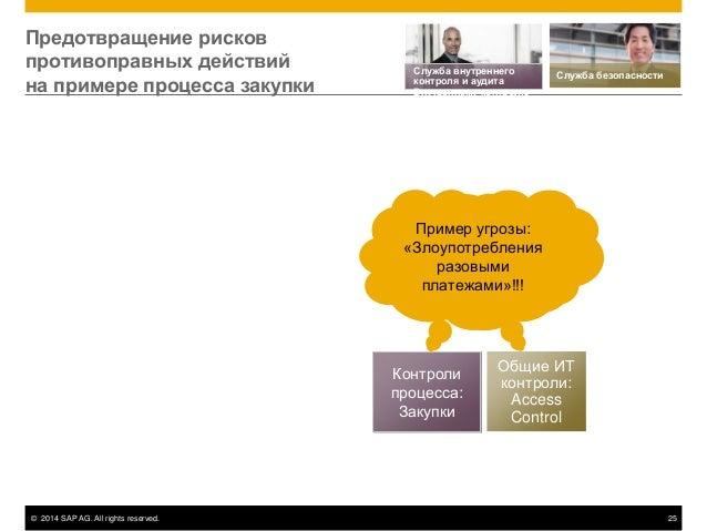© 2014 SAP AG. All rights reserved. 25 Контроли процесса: Закупки Общие ИТ контроли: Access Control Пример угрозы: «Злоупо...