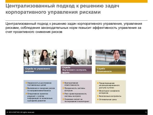 © 2014 SAP AG. All rights reserved. 5 Централизованный подход к решению задач корпоративного управления рисками Централизо...