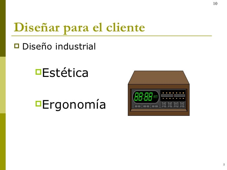 Diseñar para el cliente <ul><li>Diseño industrial </li></ul><ul><ul><ul><li>Estética </li></ul></ul></ul><ul><ul><ul><li>E...
