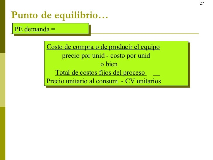 Punto de equilibrio… PE demanda = Costo de compra o de producir el equipo precio por unid - costo por unid o bien Total de...