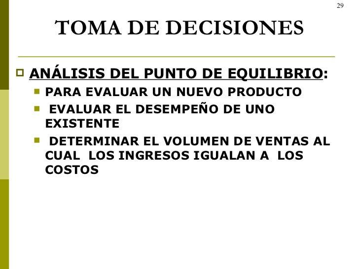 TOMA DE DECISIONES <ul><li>ANÁLISIS DEL PUNTO DE EQUILIBRIO : </li></ul><ul><ul><li>PARA EVALUAR UN NUEVO PRODUCTO </li></...