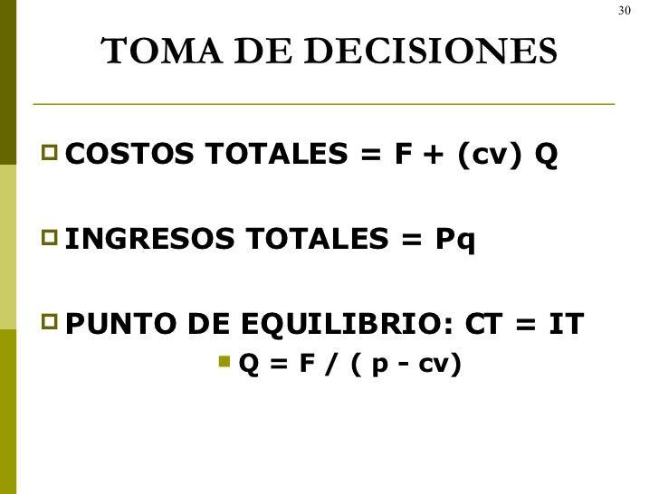TOMA DE DECISIONES <ul><li>COSTOS TOTALES = F + (cv) Q  </li></ul><ul><li>INGRESOS TOTALES = Pq </li></ul><ul><li>PUNTO DE...