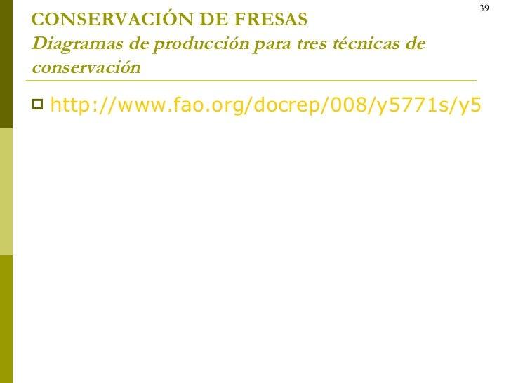 CONSERVACIÓN DE FRESAS Diagramas de producción para tres técnicas de conservación <ul><li>http://www.fao.org/docrep/008/y5...