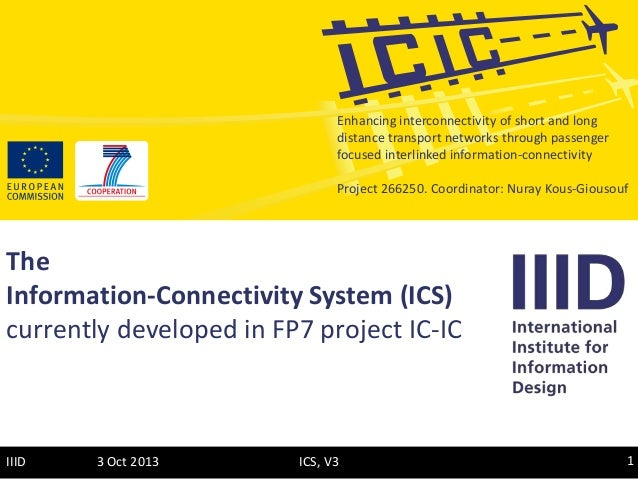3 Oct 2013 1ICS, V3IIID The Information-Connectivity System (ICS) currently developed in FP7 project IC-IC Enhancing inter...