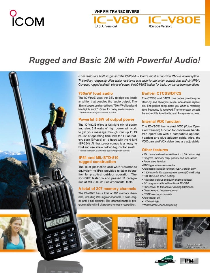 Icom radios are built tough, and the IC-V80/E – Icoms most economical 2M – is no exception.This military rugged rig offers...
