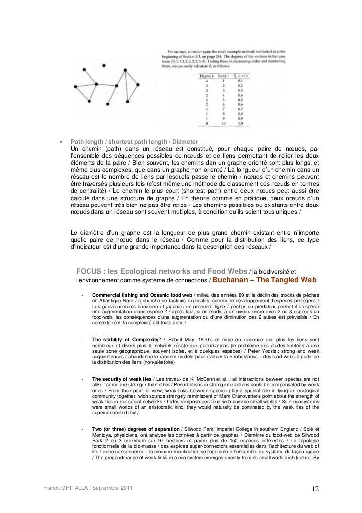 •   Path length / shortest path length / Diameter         Un chemin (path) dans un réseau est constitué, pour chaque paire...