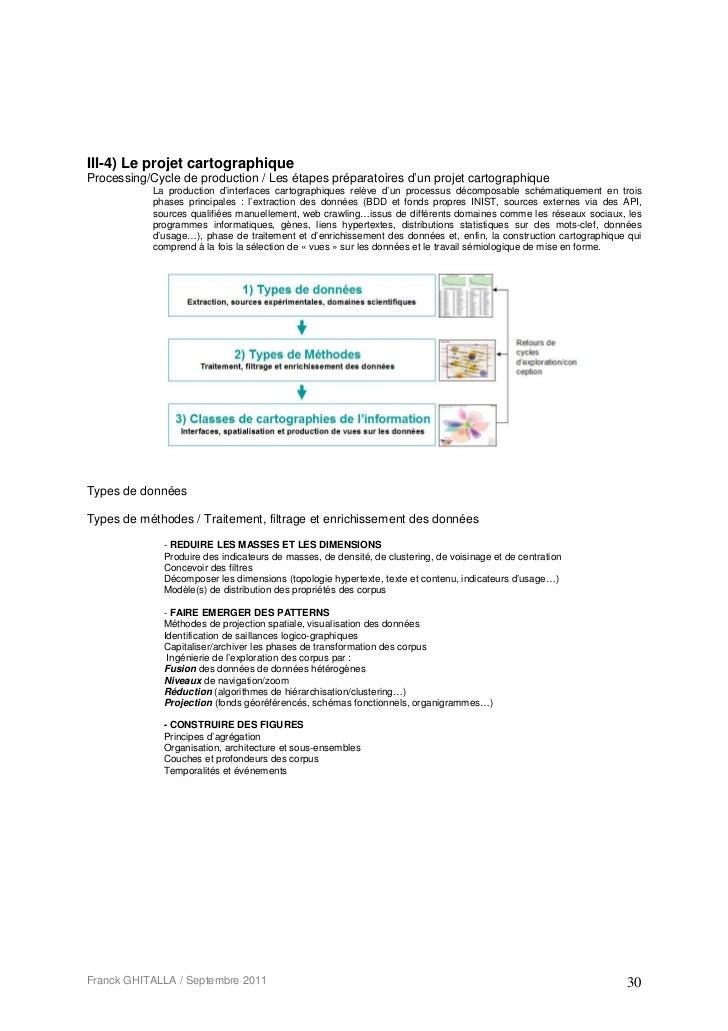 III-4) Le projet cartographiqueProcessing/Cycle de production / Les étapes préparatoires d'un projet cartographique       ...