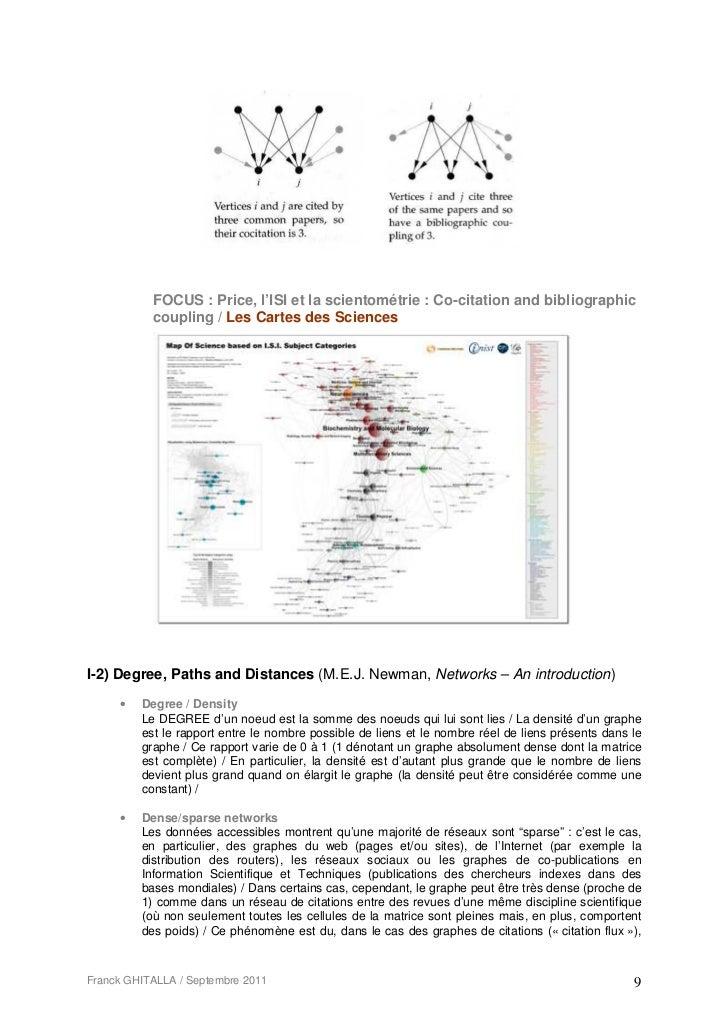 FOCUS : Price, l'ISI et la scientométrie : Co-citation and bibliographic           coupling / Les Cartes des SciencesI-2) ...