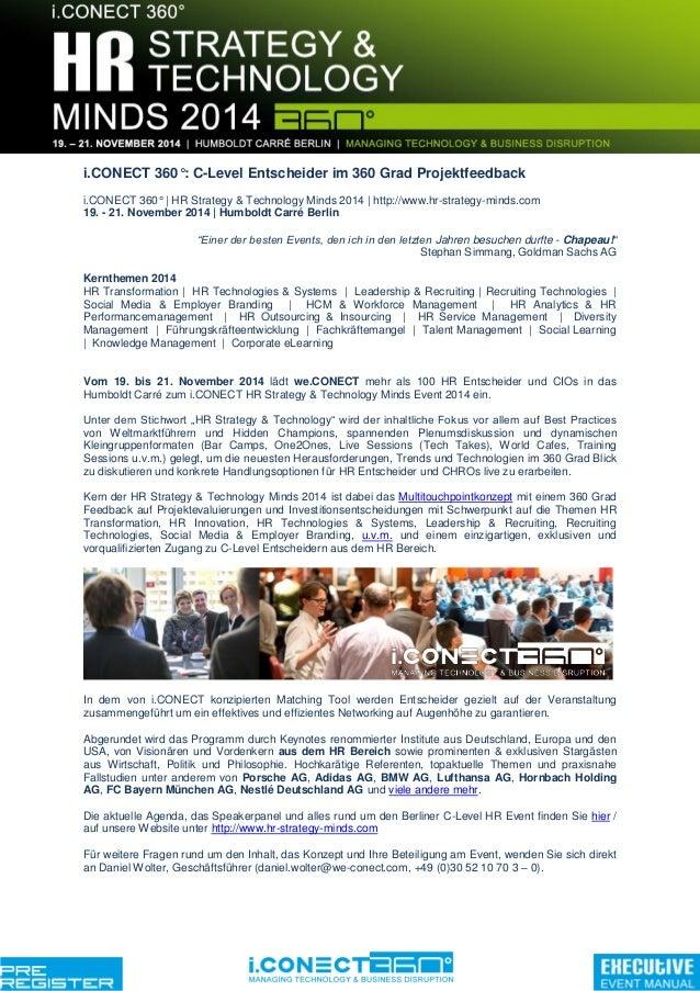 i.CONECT 360°: C-Level Entscheider im 360 Grad Projektfeedback i.CONECT 360° | HR Strategy & Technology Minds 2014 | http:...