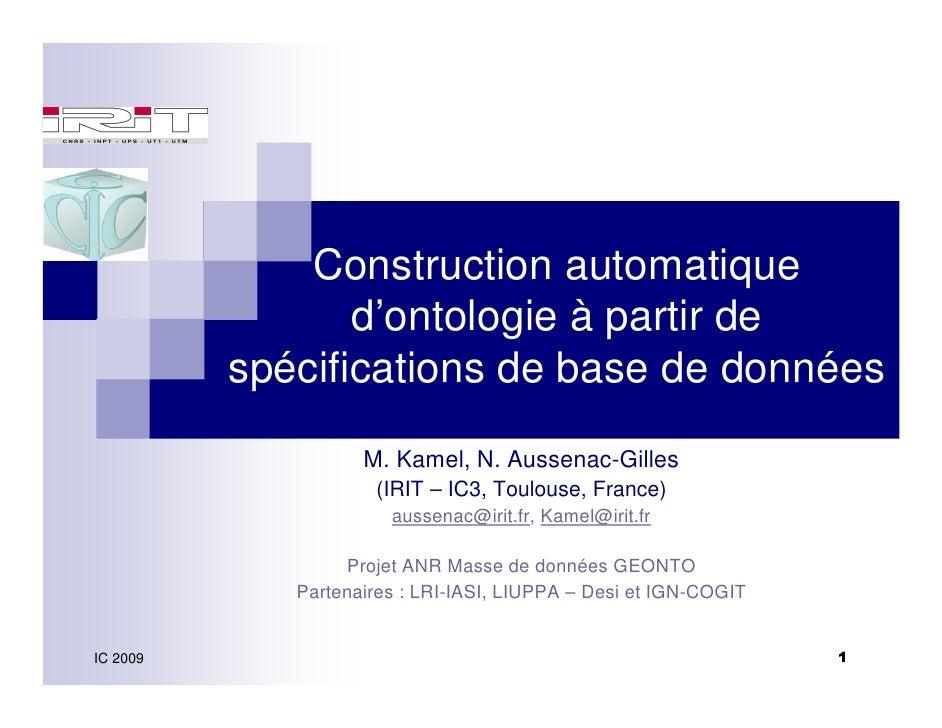 Construction automatique                  d'ontologie à partir de           spécifications de base de données             ...
