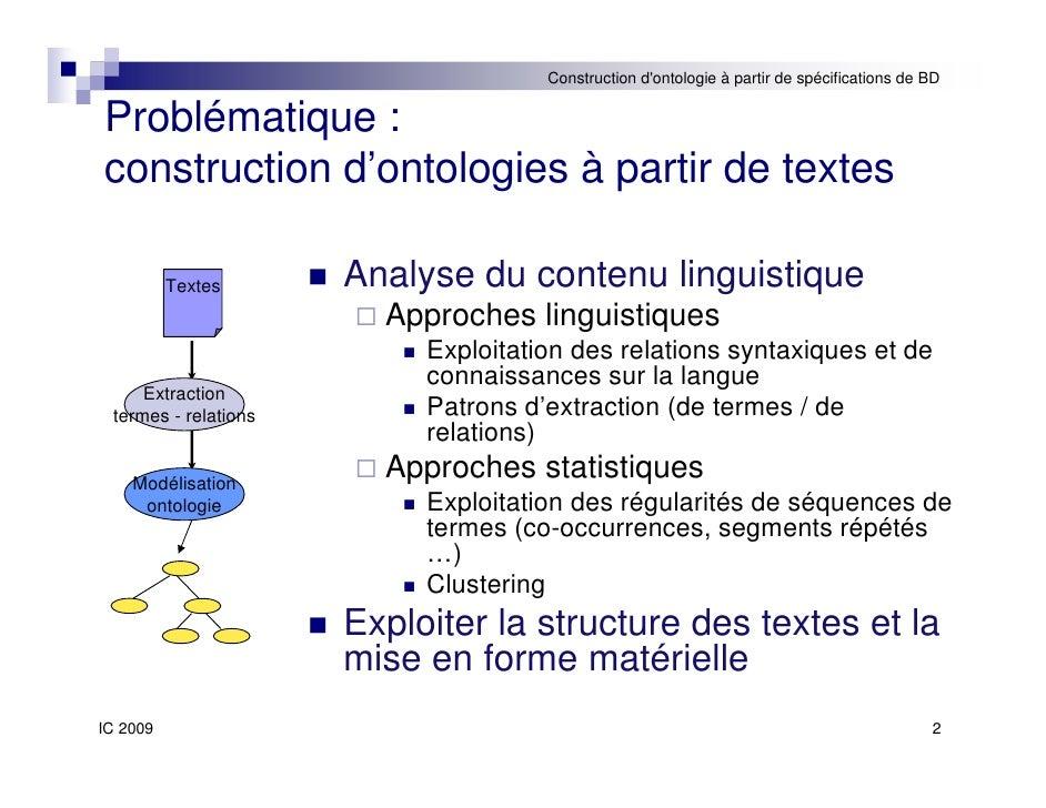 Construction automatique d'ontologies à partir de spécifications de bases de données Slide 2