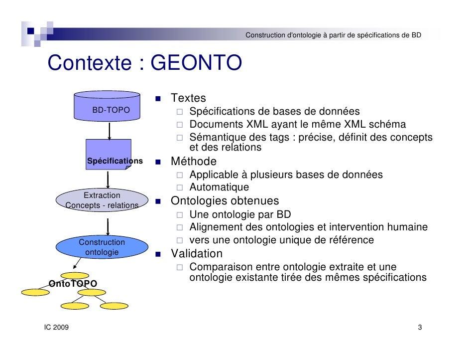 Construction automatique d'ontologies à partir de spécifications de bases de données Slide 3