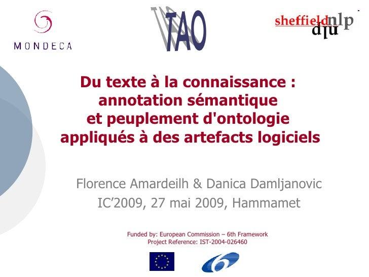 Du texte à la connaissance :      annotation sémantique    et peuplement d'ontologie appliqués à des artefacts logiciels  ...