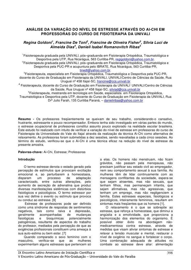 ANÁLISE DA VARIAÇÃO DO NÍVEL DE ESTRESSE ATRAVÉS DO AI-CHI EM             PROFESSORAS DO CURSO DE FISIOTERAPIA DA UNIVALI ...