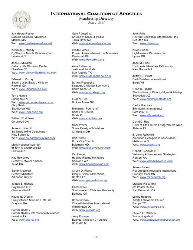 International Coalition Apostles membership