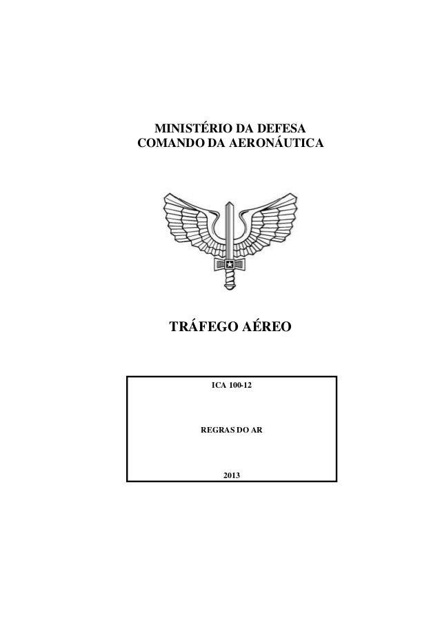MINISTÉRIO DA DEFESA COMANDO DA AERONÁUTICA TRÁFEGO AÉREO ICA 100-12 REGRAS DO AR 2013