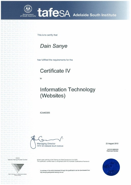 ICA40305 Certificate IV in Information Technology