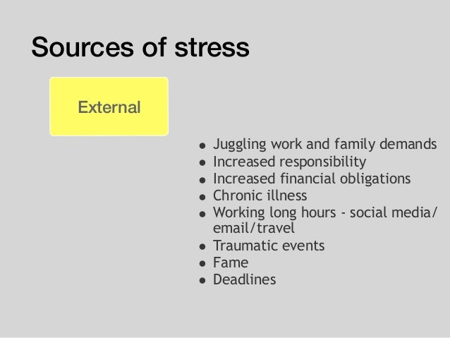 Sources of stress External • Juggling work and family demands • Increased responsibility • Increased financial obligations...