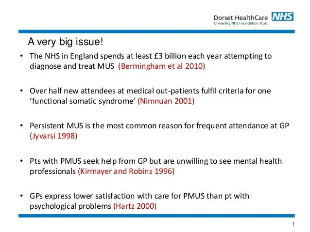 1 • The NHS in England spends at least £3 billion each year attempting to diagnose and treat MUS (Bermingham et al 2010) •...
