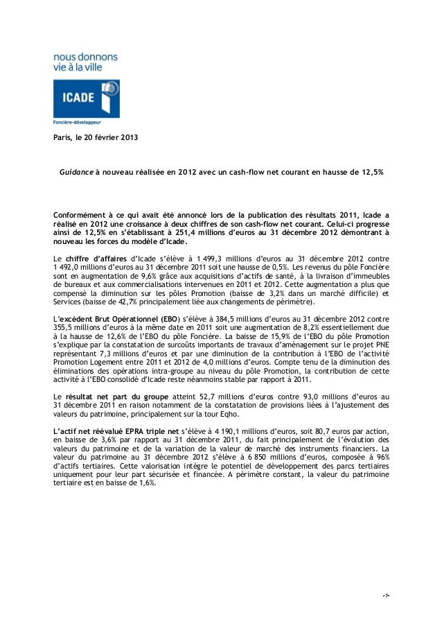 Paris, le 20 février 2013 Guidance à nouveau réalisée en 2012 avec un cash-flow net courant en hausse de 12,5%Conformément...