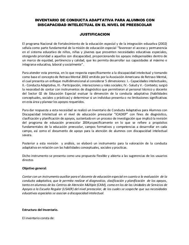 INVENTARIO DE CONDUCTA ADAPTATIVA PARA ALUMNOS CON DISCAPACIDAD INTELECTUAL EN PREESCOLAR Slide 2